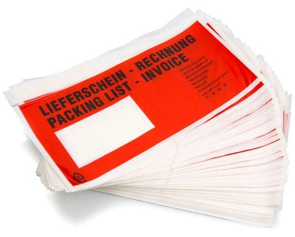 Versandtaschen rot bedruckt DIN lang 230 x 120 mm