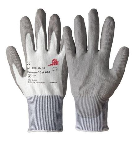 Camapur Cut 620 Gr. 10 grau/weiß Beschichtung an Handinnenfläche und Fingern