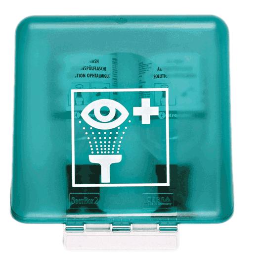 SecuBox Midi grün für Augenspülflaschen ABS Kunststoff weiß. 236 x 225 x 125 mm