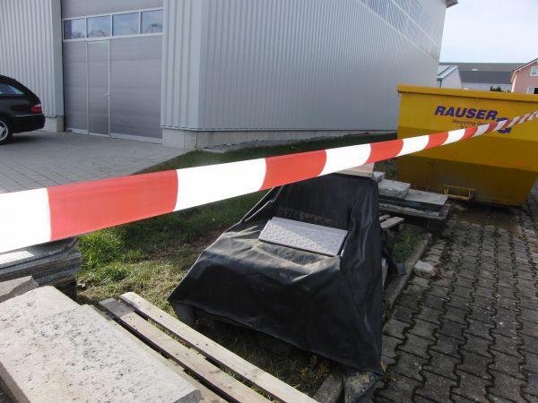 LDPE-Warnband rot/weiß  80 mm x 500 m