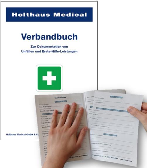 Verbandbuch DIN A5, mit peforierten Seiten.