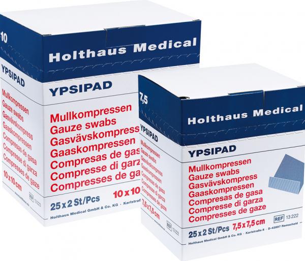 YPSIPAD  Mullkompresse  8-fach 25 x 2 Stück  steril 10 x 10 cm