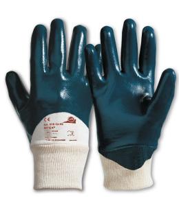 Nitex KCL 318 Gr. 10 Baumwoll-Trikot mit Strickbund und blauer Nitrilbeschichtun