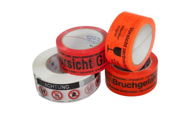 """PP-Verpackungsband """"Vorsicht Glas"""" 50/66 rot/schwarz Acrylat"""