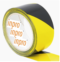 PVC Warnband gelb/schwarz gestreift 50 mm x 66 lgm,